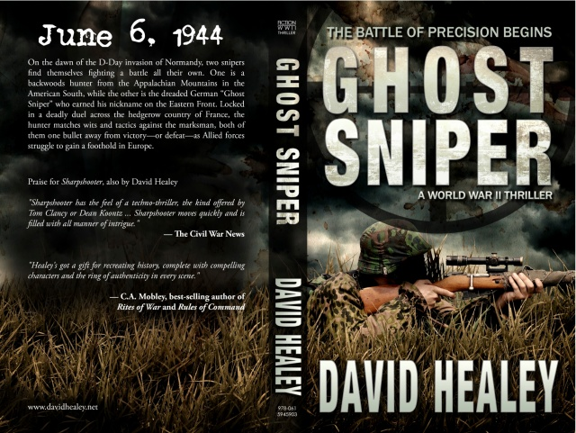 The full print cover, front and back, for GHOST SNIPER.
