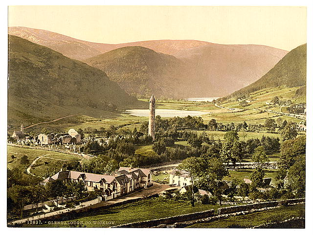 Glendalough in County Wicklough. Courtesy U.S. Library of Congress.
