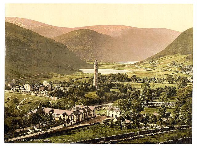 Glendalough in County Wicklough. Courtesy U.S. Library of Congress.