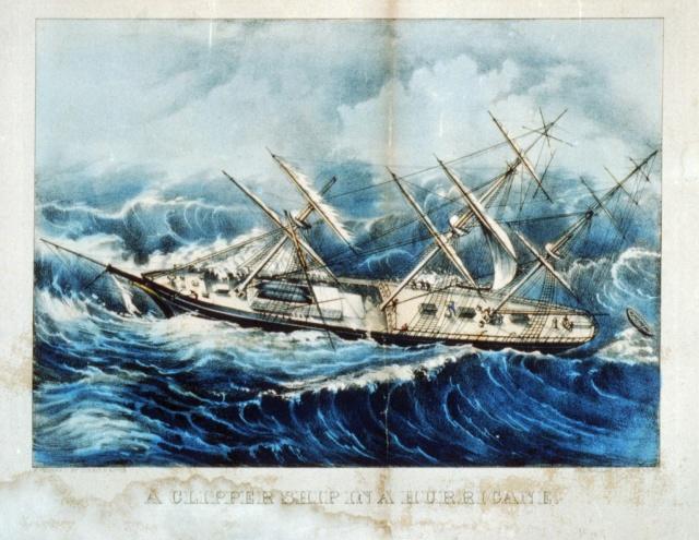 clipper ship in hurricane for blog