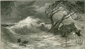 An old woodcut that depicts the storm of 1821 that struck the Delmarva coast.