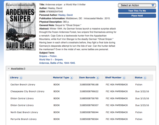 Ardennes Sniper is also available at your local library ... along with a lot of other great books!