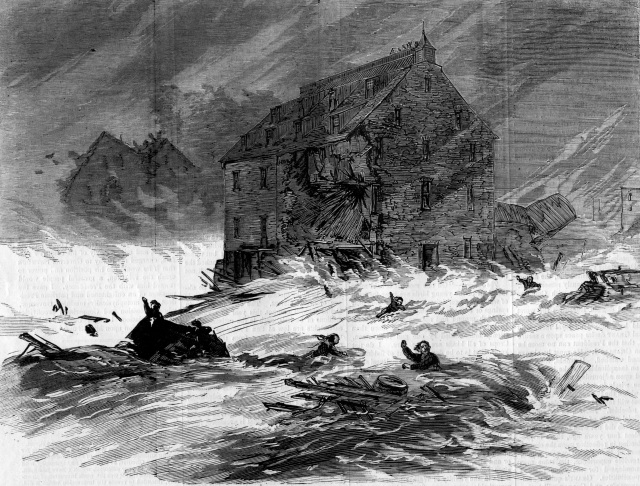 The Ellicott City flood of 1868 as depicted in Harper's Weekly. A flash flood destroyed dwellings and warehouses, claimed lives, and nearly shipwrecked a tugboat. Image from author's collection taken from original edition.